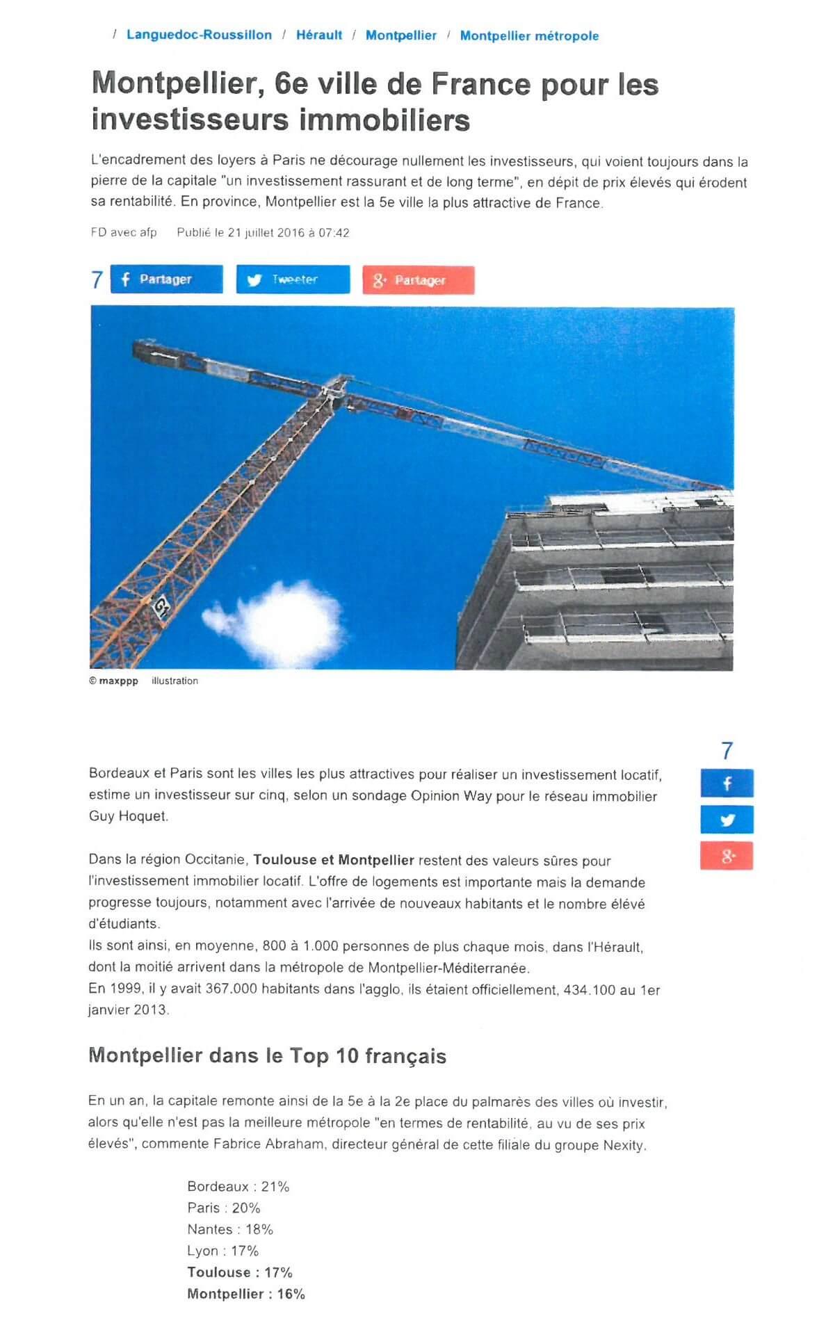 Article Investir à Montpellier