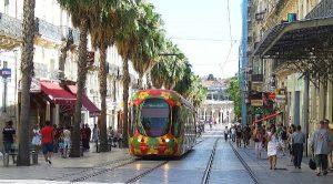 Le tram dans le centre-ville de Montpellier