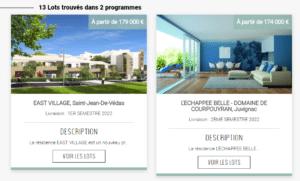 les lots immobiliers proposés par Bacotec et disponibles sur la vitrine du neuf